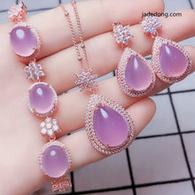 LETSFUN Fine Jewelry Natural 925 silver inlaid Jade chalcedony Pendant Ring Earrings Bracelet Jewelry Four pieces Sets Women(China)