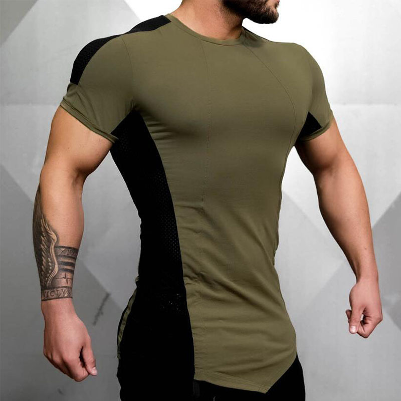 New Mens Tight-Fitting Short-Sleeved T-shirt Fitness Organization Fitness Gyms Fitness Splicing Cotton T-shirt Size M-XXL
