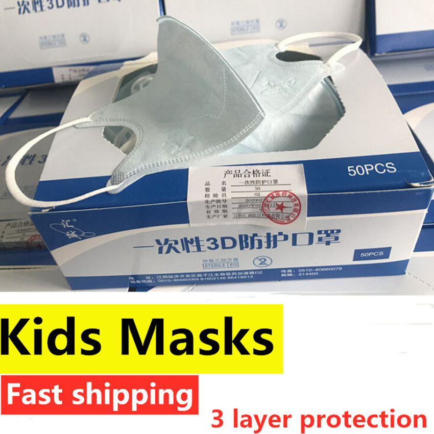 50Pcs Child Antiviral Disposable Face Mask Kids Dust Gas Mouth Mask Cartoon Filter 3 Layer Flu Hygiene Masks For Germ Protection