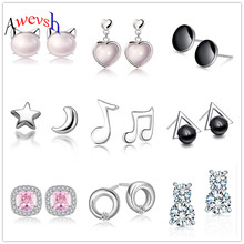 Awevsh 12 styles 925 sterling silver Star Moon Shape Earrings Vintage Jewelry Gift Crystal Square Geometric Earrings for Women(China)