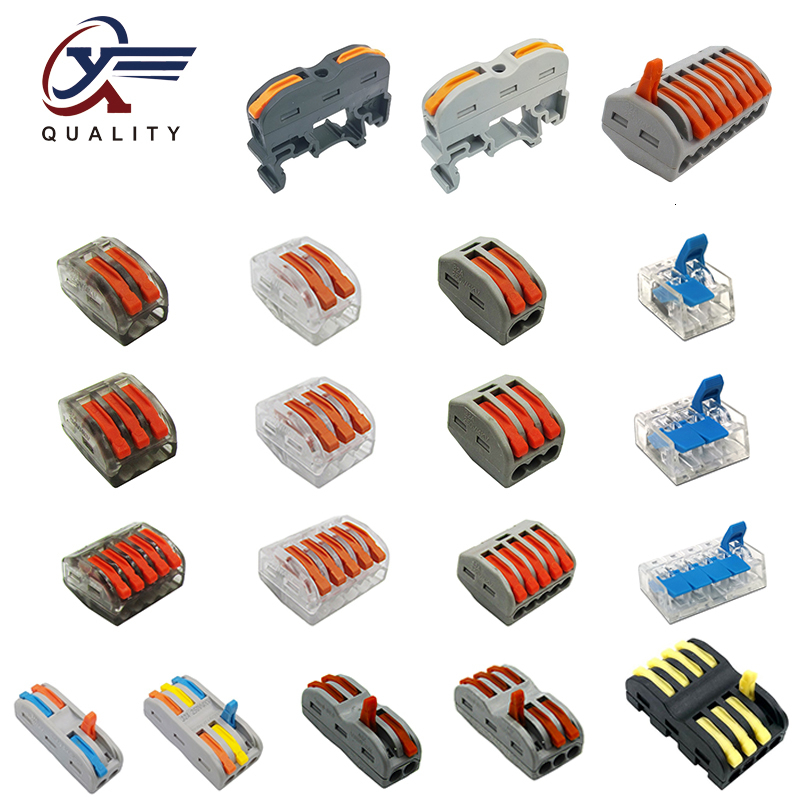 (30/50/100 Pcs) PCT-222 Mini Fast Wire Connectors Universal Compact Wiring Connector Push-in Terminal Block PCT-212 213 214 215