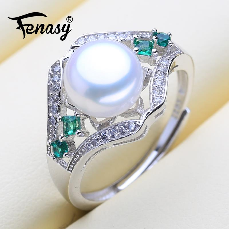 FENASY 25-Sterling-Silver Ring Stones-Crown Natural Green Genuine With Pearl Women Freshwater