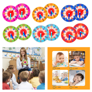 Montessori Wooden Clock Toy H M S Cognition Teaching Aids Preschool Accessories, Sticker Crafts, Brilliant Colors image