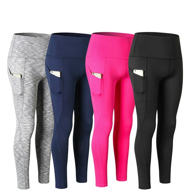 High Quality Women Sexy Slim Sports Yoga Pants Side Pocket Running Pants Girls Yoga Leggings Female Long Gym Tights