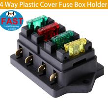 4 Way Plastic Cover Fuse Box Holder Block Case DC 12V 24V For Auto Car Boat Truck Bus Marine Trike SUV Motorcycle все цены