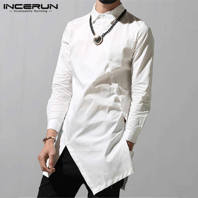 INCERUN ファッション男性不規則なシャツ 2020 ラペルシックなボタン無地長袖ドレスシャツスリムカミーサトップス S-5XL