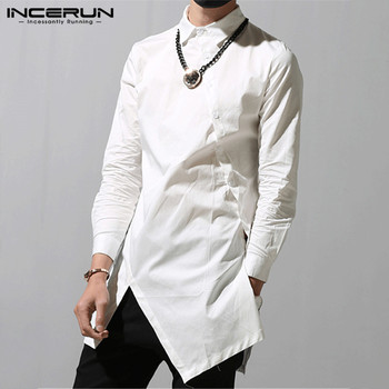 INCERUN Fashion Men Irregular Shirts 2020 Lapel Chic Button Solid Color Long Sleeve Dress Shirts Slim Camisa Long Tops S-5XL spring men long sleeve turn down collar single breasted shirts camisa solid color oxford pure cotton slim fit vestido shirts