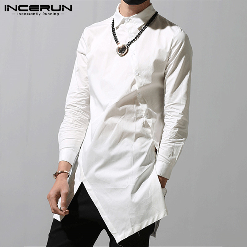 INCERUN Fashion Men Irregular Shirts 2020 Lapel Chic Button Solid Color Long Sleeve Dress Shirts Slim Camisa Long Tops S-5XL