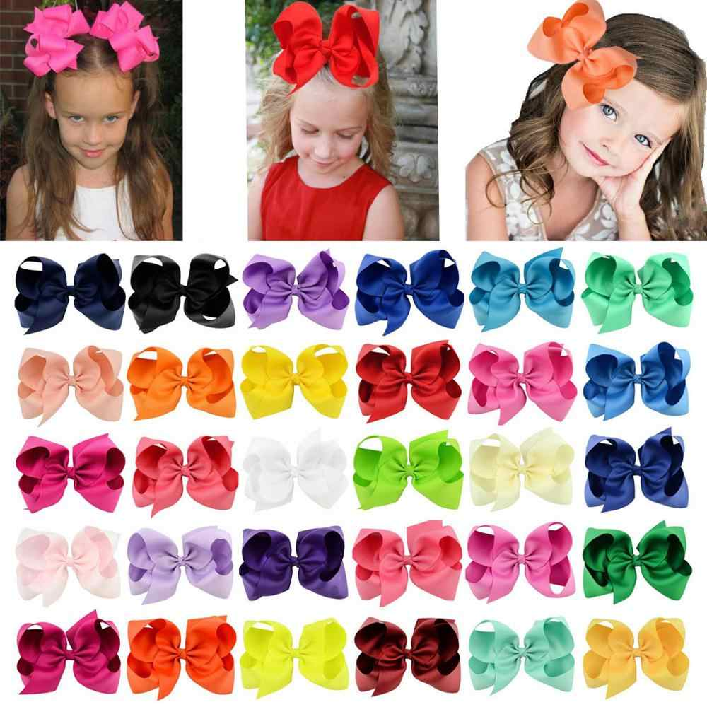 1Pcs 6 Inch 40 Colorful Kids Girls Big Solid Ribbon Hair Bow Clips With Large Hairpins Boutique Hairclips Hair Accessories