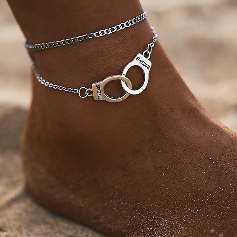 New Fashion Anklets Popular Handcuffs Double Layer Chain Bracelet Female Beach Feet Jewelry Simple Summer Jewelry