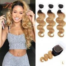 Weave Blonde Bundles Lace Closure Human-Hair Body-Wave Ombre 1b-27 Indian Honey