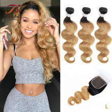 Bobbi Collection 1B 27 Indian Body Wave 2/3 Bundels Ombre Honey Blonde Bundels Met Sluiting 10 24 Inch Non Remy Human Hair Weave
