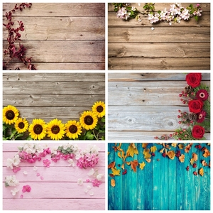 Laeacco Vinyl Wood Planks Board Spring Flowers Tassel Cloth Pet Doll Portrait Photo Background Photography Backdrop Photo Studio