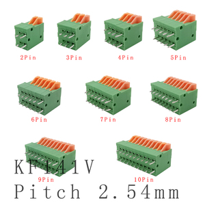 KF141V 2.54mm Pitch Straight Pin PCB Mounted Spring Screless Terminal Blocks Connector 2/3/4/5/6/7/8/9/10 P 150V 2A for 26-20AWG