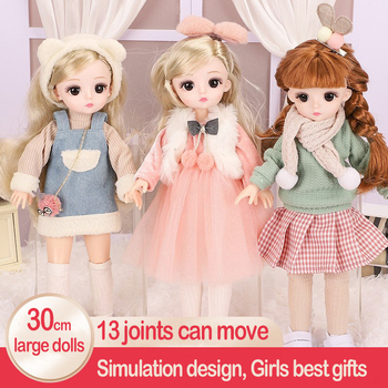 Bjd Baby Doll 30cm Full Set Poppen Jointed Doll Toys For Girls Movable Jointe Doll With Clothes Suit 3D Eyes Toys Fashion Gifts fashion sd bjd doll girls doll with clothes blue eyes 18 inch cute princess doll toys for children s new year gift