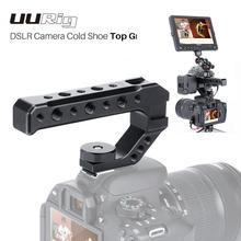 Uurig r005 universal dslr câmera rig alça superior três frio sapato adaptador de montagem para led luz microfone metal queijo lidar com aperto