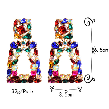 Metal Hollowed-out Hanging Colorful Crystals Dangle Drop Earrings  6