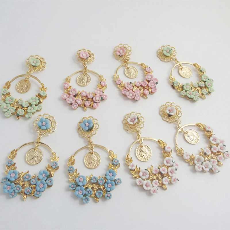4 цвета, висячие серьги в стиле барокко, Ретро стиль, пасторальный свежий цветок, большое кольцо, серьги, ювелирные изделия, европейский стиль, подвеска в виде цветка розы для женщин
