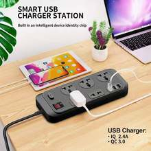 Multi Power Strip Plug with 5 AC Outlets & QC 3.0 3 USB Fast Charging Ports Socket Adapter US UK EU AU Timer Power Socket