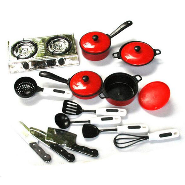¡Novedad de 2019! ¡novedad! 13 piezas de utensilios de cocina para casa de juego para niños y niñas, utensilios de cocina, sartenes y platos de cocina