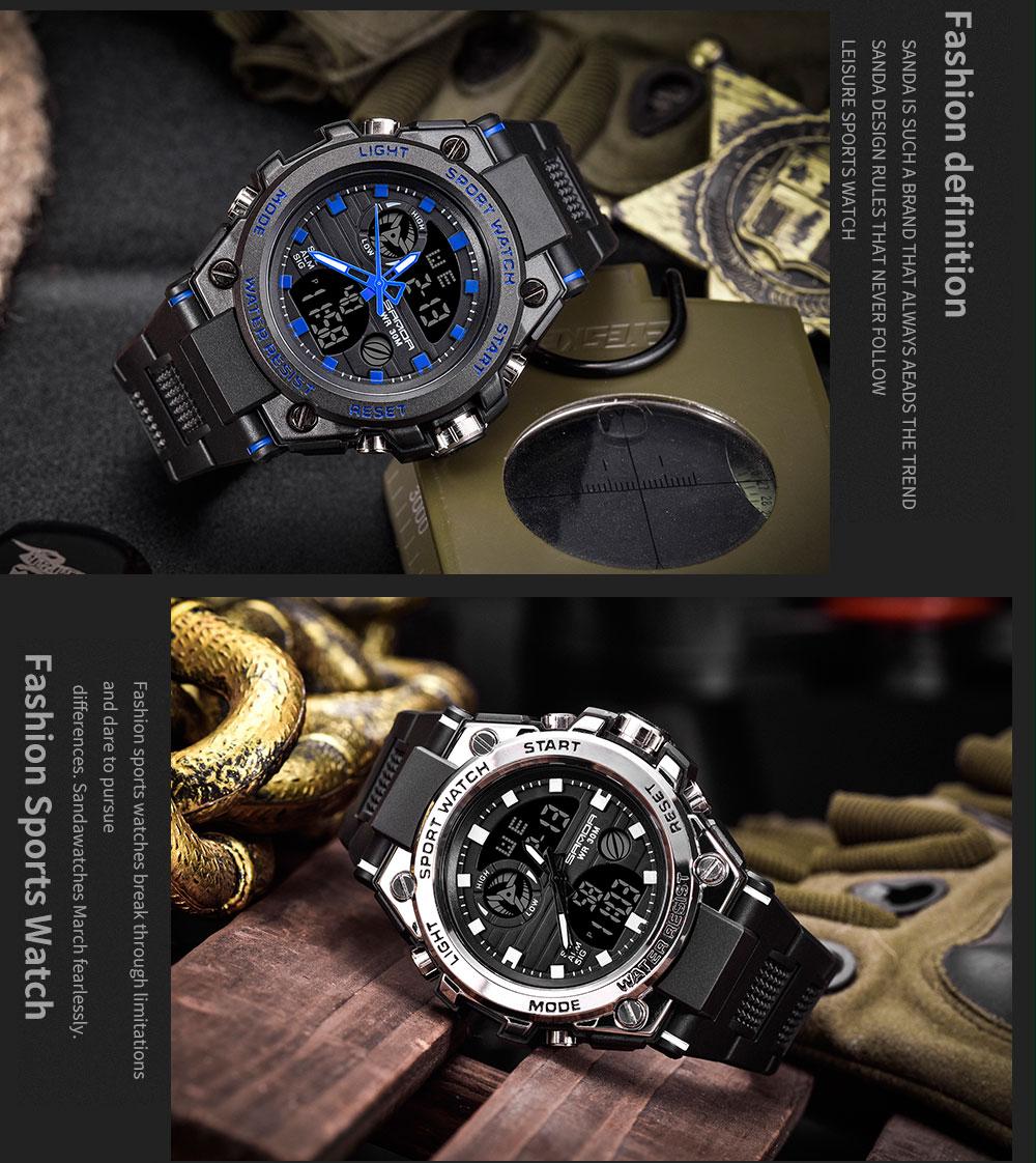 SANDA Top Luxury Men Beautiful Sport Watch 2021
