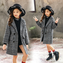 Winter Coat Windbreaker Cotton Jacket Plaid Girls New for Thick-Down Suit Christmas 4-12-Years
