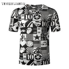 Summer fashion t-shirt men English letter printing oversized t shirt casual V-neck short sleeve stranger things t shirt(China)