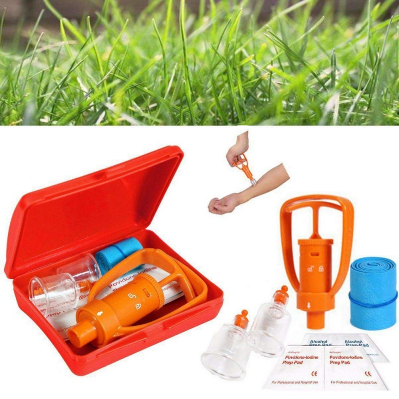 1Pc Outdoor Camping Survivor Survival Equipment Safe First Aid Kit Safety Venom Protector Snake bees Bite Venom Extractor(China)