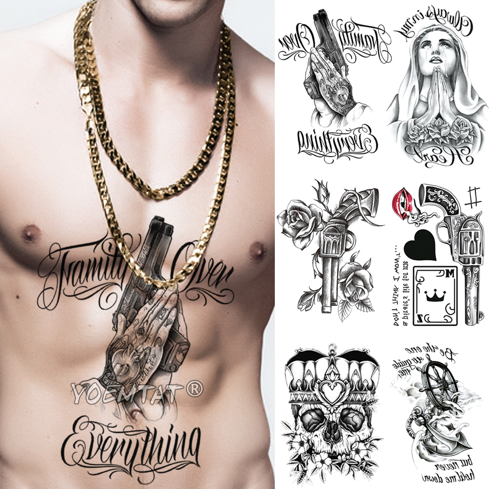 Skull Praying Spades Arm Temporary Tattoo Sticker Gun Rose Flower Waterproof Tatto Virgin Mary Body Art Fake Tatoo Men Women