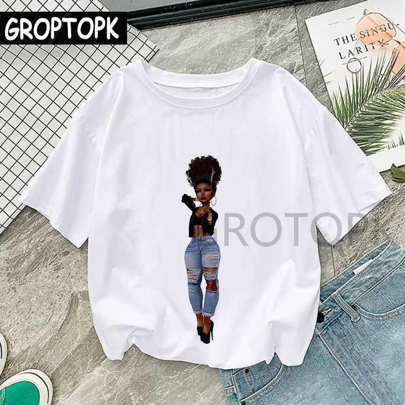 מגניב מלנין שחור ילדה הדפסת נקבה חולצה Harajuku חולצות לנשים קיץ היפ הופ כותנה T חולצת טי חולצה Femme ווג למעלה