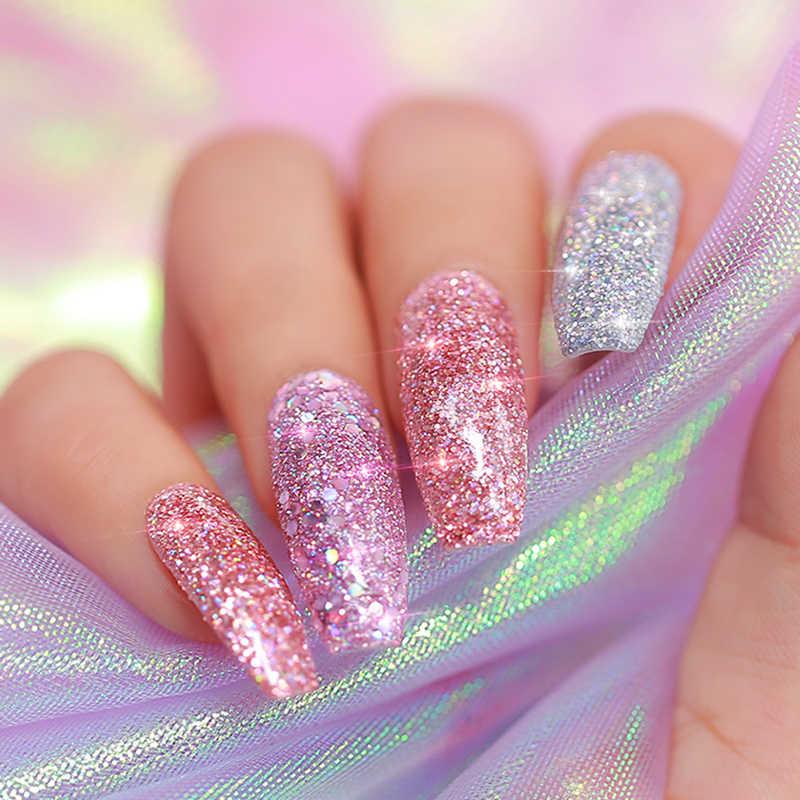 Azure Beauty Super Glitter Mengkilap Mencelupkan Bubuk Holographic Kerlap-kerlip DIP Sistem Kuku Bubuk Base Top Gel Penggerak DIP Bubuk