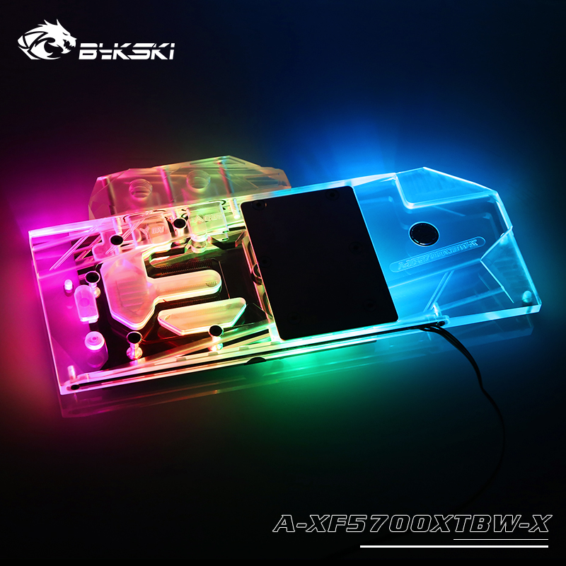 Bykski Water Block Use For XFX Radeon RX5700XT O8G / Full Cover Copper Radiator Block / 3PIN 5V A-RGB / 4PIN 12V RGB