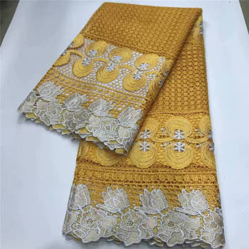 2020 Latest yellow color guipure cord Lace Fabrics Embroidered High Quality guipure Lace Fabric Nigerian cord tulle Lace Fabric