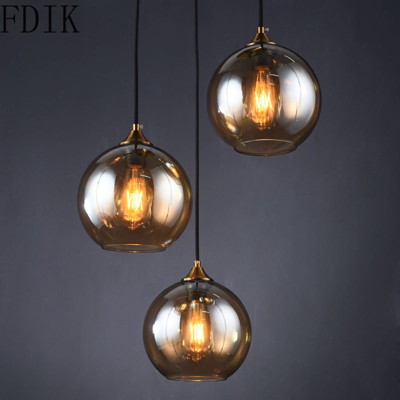 Nordic Dining Room Glass Pendant Lamp Vintage Led Hanging Lights for Bedroom Kitchen Living Room Indoor Decor Lighting Luminaire