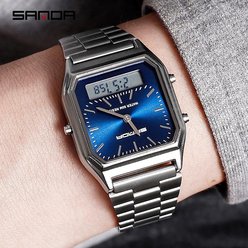 2019 New Sanda Men Watches Retro Stainless Steel Band Digital Display erkek kol saati zegarek damski relogios Wristwatches