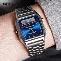 2019 neue Sanda Männer Uhren Retro Edelstahl Band Digital Display erkek kol saati zegarek damski relogios Armbanduhren