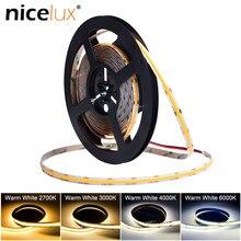 High Bright COB Strip Light DC12V 24V 480 LEDs/m 8mm Flexible FOB Tape Ribbon RA80+ 2700K 3000K 4000K 6000K Linear Dimmable CE