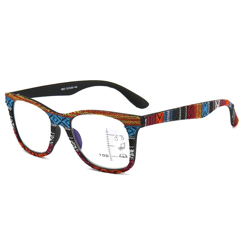 Anti-Blu-ray Reading Glasses Multifocal Progressive Presbyopia Eyewear Men Women Retro Imitation Woodgrain Frame Spectacles