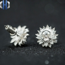 S925 Sterling Silver Skull Earrings Personality Skull Sun Flower Sunflower Creative Earrings