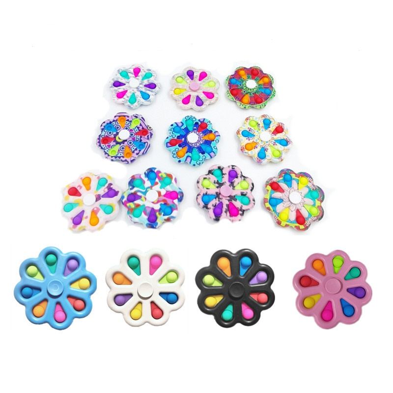 Camouflage Pop Fidget Spinners Push bubble finger Spinner Simple Dimple Hand Toys for ADHD AnxietyStress Relief Sensory