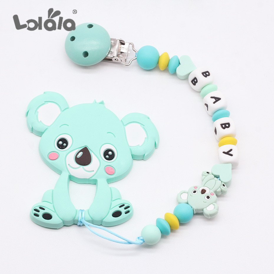 Personalized Name DIY Silicone Beads Dummy Clip Nipples Holder Cute Pacifier Clips Soother Chains Baby Teething Toy Baby Chew