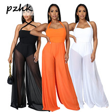 Pzhk Women Rompers 2020 Summer New Ladies Casual Clothes Loose Linen Jumpsuit Sleeveless Backless Playsuit Trousers Overalls
