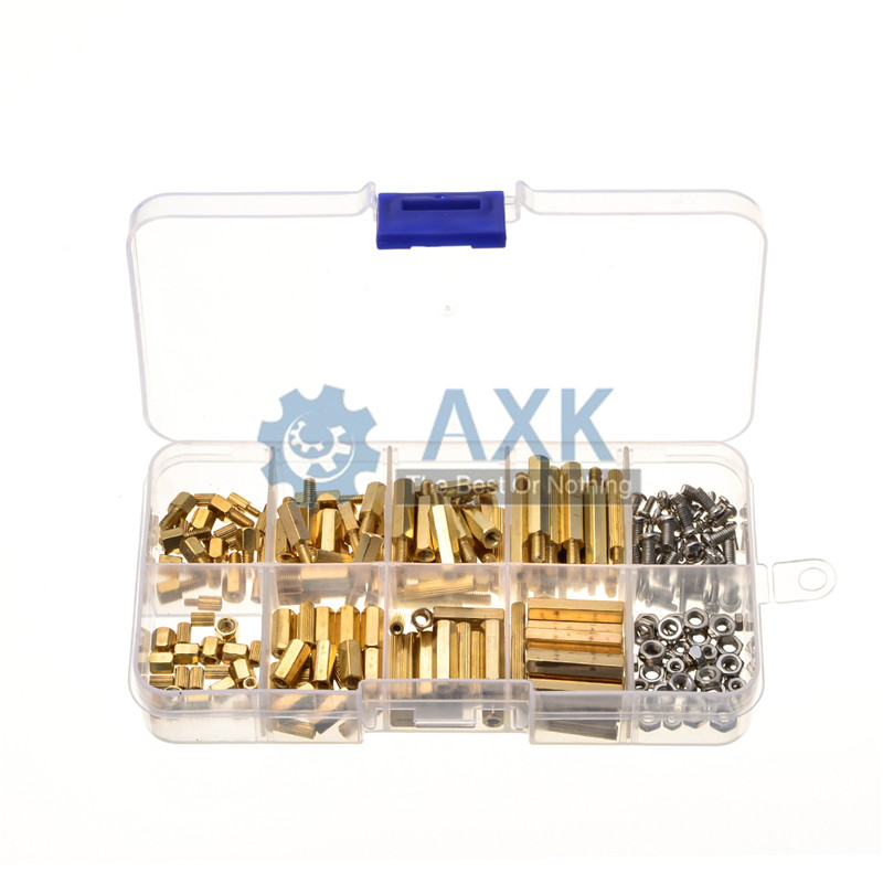 DIY M2*L+<font><b>3mm</b></font> M2.5/<font><b>M3</b></font>*L+6mm Hex Nut Spacing <font><b>Screw</b></font> Brass Threaded Pillar PCB Motherboard Standoff Spacer Kit image