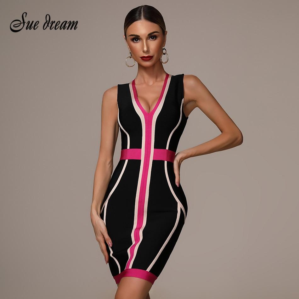 2019 Summer New Women's Fashion Sexy Striped Stitching Bandage Dress Deep V-neck Vestidos Party Club Mini Dress