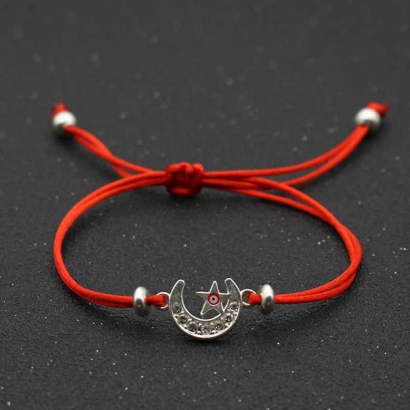 חמוד דוב בעבודת יד צמידים לנשים אופנה שיבוץ קריסטל כוכב ירח עין רעה מזל אדום מחרוזת צמיד תכשיטי זוג