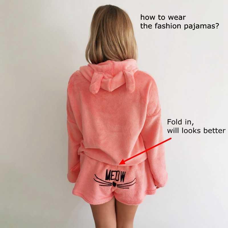 July's Bài Hát Nữ Pyjama Bộ 2019 Thu Đông Nỉ Hoạt Hình Ấm Pyjamas Động Vật Đồ Ngủ Mèo Nữ Pijama Nữ Homewear
