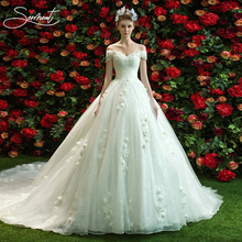 SERMENT Luxury Wedding Dress Cathedral Off The Shoulder Back Lace Up Hand-made  Vestido De Noiva Free Custom Made Size