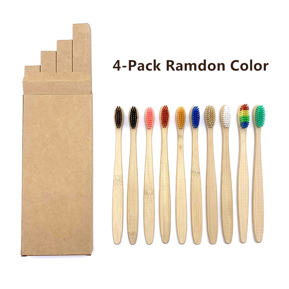 4Pcs Natural Biodegradable Bamboo Toothbrush Bamboo Whitening Soft Bristle  Eco-friendly Tooth Teeth Brush Oral Care