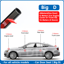 Car Rubber Door Seal Big D Type Universal Noise Insulation Epdm Car Rubber Strip Waterproof Seals For Auto Door Seal Strip