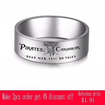 Moda piratas del anillo caribeño hombres muertos contar No Tales titanio Metal anillo para dedo Simple joyería regalos lindos al por mayor